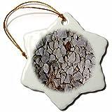 3dRose TDSwhite – Rock Photos - White Stones Rocks Ground - 3 inch Snowflake Porcelain Ornament (orn_281939_1)