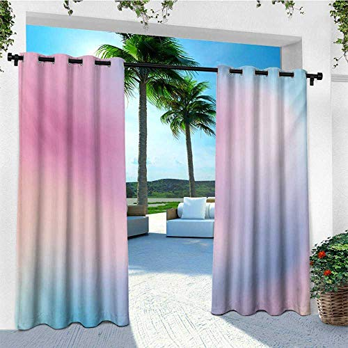 leinuoyi Pastel, Outdoor Curtain Extra Wide, Abstract Blurry Colors Composition Sweet Daydream Fantasy Miscellaneous, for Patio Furniture W120 x L108 Inch Pink Aqua Peach White - Daydream Lilac