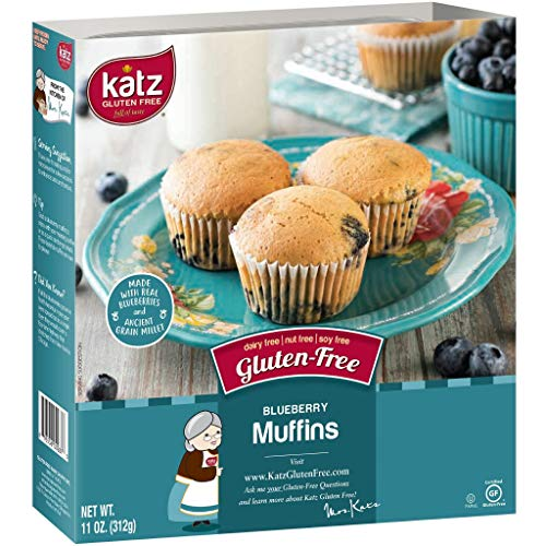 Katz Gluten Free Blueberry Muffins | Dairy, Nut, Soy and Gluten Free | Kosher (1 Pack of 4 Muffins, 11 Ounce) - Free Blueberry Muffin
