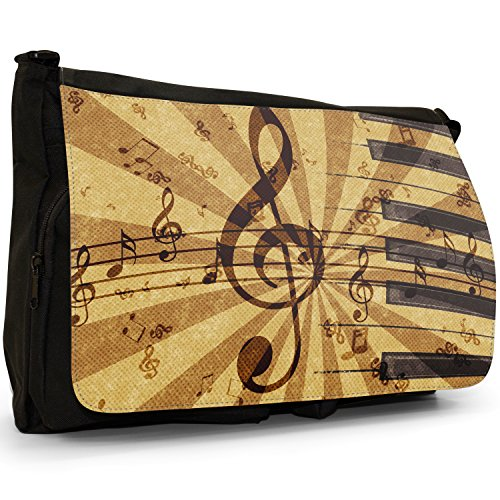 Bag Grunge Messenger Black Music Large Laptop School Vintage Canvas Shoulder Harmony Notes 8qdqa