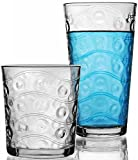 Circleware Parade Huge Set of 16, 8-17oz Drinking Glasses & 8-13oz Double Old Fashioned Whiskey Glass, Kitchen Glassware for Water, Beer, Juice, Ice Tea, Wine and Best Bar Barrel Liquor Beverage Gifts Review