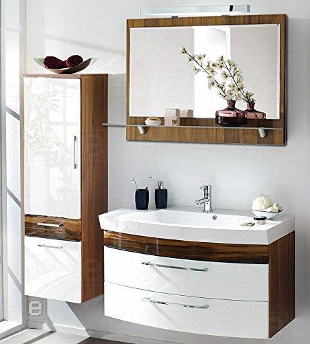 3tlg badm bel set badezimmer hochschrank spiegel hochglanz wei walnuss nb kaufen. Black Bedroom Furniture Sets. Home Design Ideas