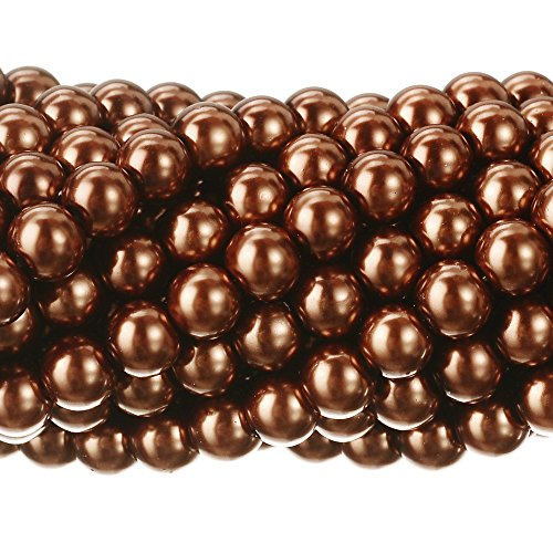 Pearl Brown Imitation (RUBYCA 200Pcs Czech Tiny Satin Luster Glass Pearl Round Beads DIY Jewelry Making 10mm Copper Brown)