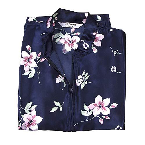 Women's Kaftan Satin Gown With Pink Spring Flower Design, Asian-Style Mandarin Collar Long Length Caftan, Ladies' Kaftan/Robe/Tunic Floral Print, Women's Leisure Clothing, Navy - Medium.