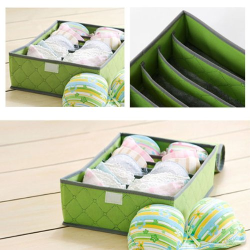 NEEWER® 7 Cell Slots Panty Underwear Bras Drawer Closet Organizer Storage Box Case (Green)