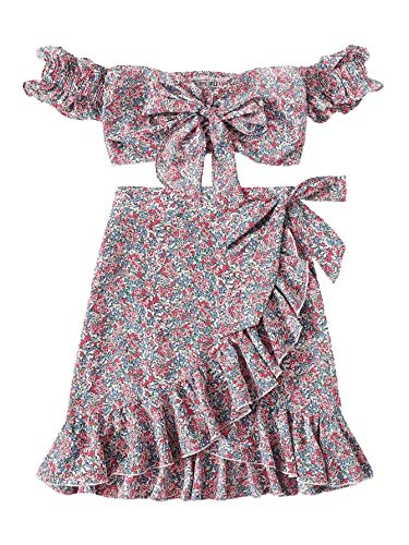 MAKEMECHIC Women's Bohemian Two Piece Floral Knot Shirred Bardot Top and Ruffle Wrap Skirt Set Multicolor - Two Set Piece