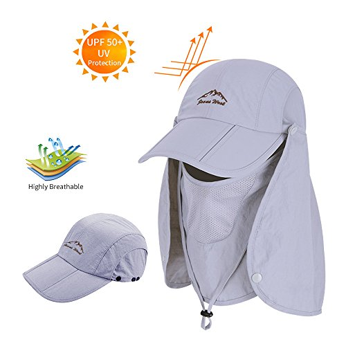 BAVST Men Women Fishing Summer Hat with Removable Neck Face Flap,360°Sun Protection Waterproof Baseball Cap Breathable Mesh Hat for Fishing,Climbing (Light Grey)
