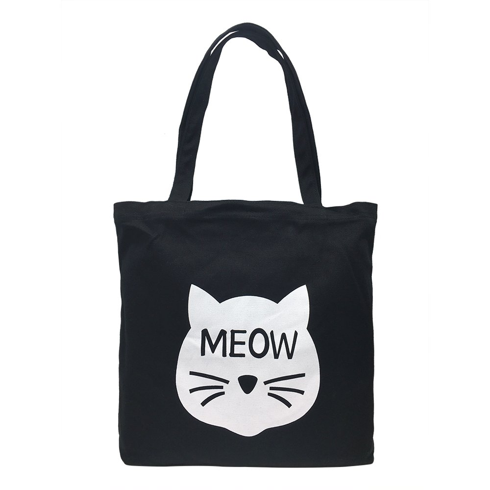 Cotton Canvas Shoulder Tote Bag Handbag Casual Travel Beach Bag Heavy Duty Grocery Shopping Bag (Black Cute Cat, No Closure)