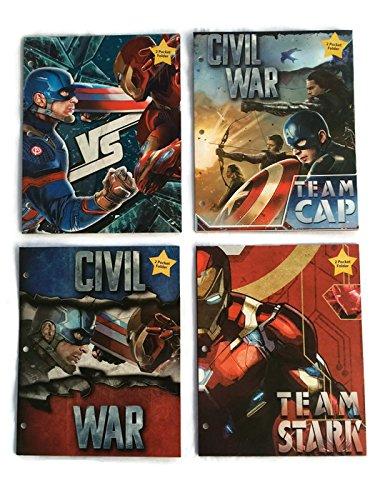 Marvel Captain America Civil War Bundle of 4 School Folders (2-Pocket) (80s Characters)
