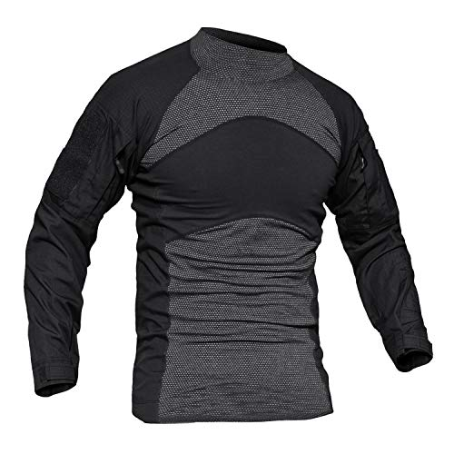 MAGCOMSEN Cotton T Shirts for Men with Pockets Army Combat T-Shirt Warm Winter Thermal T Shirt Jacket Black
