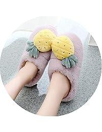 Fantastic-Journey Pantuflas de algodón para el hogar, Lindas sandías de piña para Invierno, cálidas