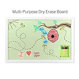 Eco-friendly Magnetic 35 x 23 Inch Mango Wood Framed Color Dry Erase Board with Pocket (Green)