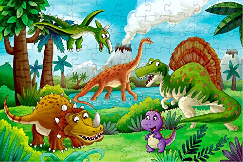 100 Piece Jigsaw Puzzles for Kids Ages 4-8 Puzzles for Toddler Dinosaur Puzzle Children Learning Preschool Educational Puzzles Toys for Boys and Girls