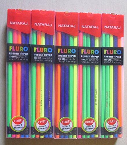 Nataraj FLURO Rubber Tipped Super Dark Pencils - 5 Packs of ()