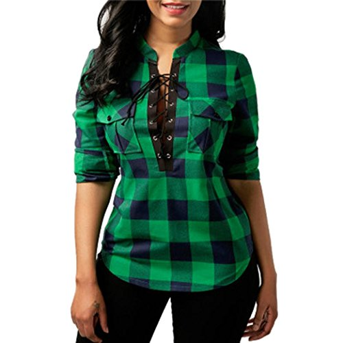 Creazy Women's Plaid Cross Bandage Pocket Long Sleeve O-Neck T-Shirt Tops Blouse (Green, M) (Top Vintage T-shirt Hat)