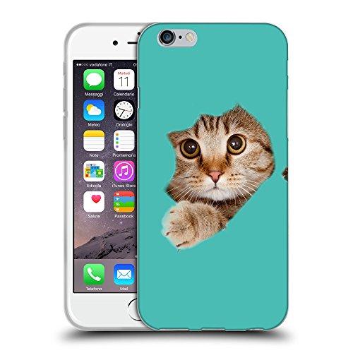 """GoGoMobile Coque de Protection TPU Silicone Case pour // Q05670634 Trou papier chat Turchese // Apple iPhone 6 4.7"""""""