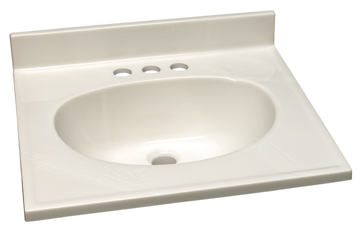 Design House 551044 Marble Vanity Top/Single Bowl, White/White, 19-Inch by 17-Inch by Design House