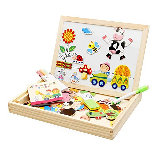 AOLVO Magnetic Jigsaw Puzzles Art Easel Animals Farm Theme Learning Wooden Puzzles Toy with Drawing Board Travel Games Educational Learning Toys for Kids Boys and Girls