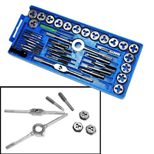 40 Pieces Metric Tap and Die Set Tapping Threading Chasing Storage (Socket Thread Restorer)