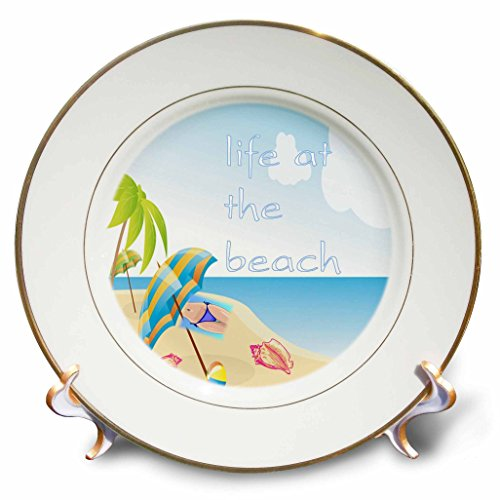 Florene Beach And Sunset Art - Image of Life At The Beach With Shells Palm And Bikini - 8 inch Porcelain Plate (cp_237046_1)