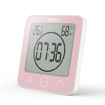 ANDE Reloj Temporizador Baño,Ventosa Digital Relojes de Pared Humedad Temperatura con Gran Pantalla LCD Impermeable Termómetro: Amazon.es: Hogar
