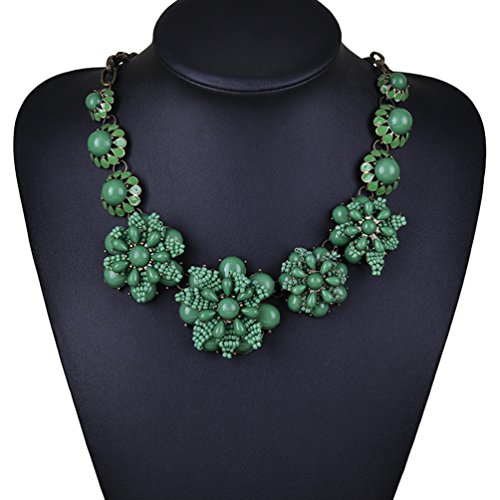 SWEETIME Black Resin Flower Bubble Bead Bib Statement Choker Collar Necklace (Green) (Daisy And Peach Halloween Costumes)