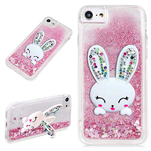 LCHDA iPhone 5 5S SE Liquid Glitter Case Pink with Bunny Ear Sparkle Quicksand Floating Luxury Bling Cute 3D Cartoon Rabbit Kickstand Crystal Silicone Cover Bumper for Girls Women