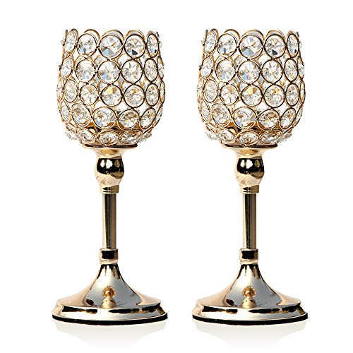 VINCIGANT Gold Crystal Pillar Modern Candle Holder Set of 2 Table Centerpieces Anniversary Celebration House Decor Gifts,2 PCS 10 inches Tall -