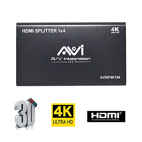AVISHOP HDMI 1x4 Splitter HDMI Splitter 1 in 4 Out 4K V1.4 Certified HDMI Powered with Full Ultra HD 4K/2K and 3D Resolutions Supported