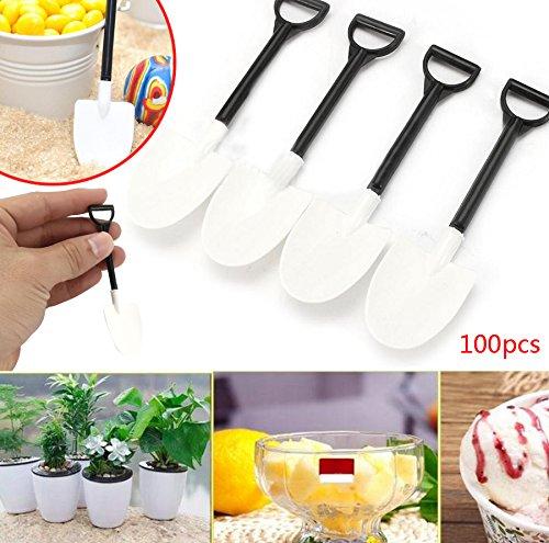 Mini Plastic Shovel (Kicode 100Pcs/Bag Plastic Disposable Mini Shovel Spoon Potted Cake Ice Cream Garden Party Supply Gadget)