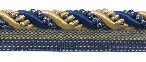 Twisted Cord 3/8 Lip Trim (Large Gold, Navy Blue 7/16