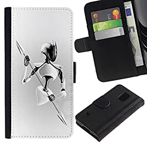 Planetar® Colorful Pattern Flip Wallet Leather Holster Protective Skin Case Cover For SAMSUNG Galaxy S5 V / i9600 / SM-G900 ( White Warrior )