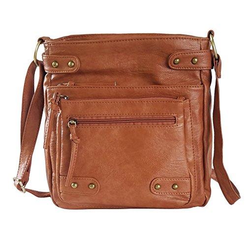 FanCarry Washed Soft PU Leather Crossbody Purse Multi Pocket Shoulder Satchel Bags for Women (Dark Orange-upgraded) by FanCarry (Image #1)