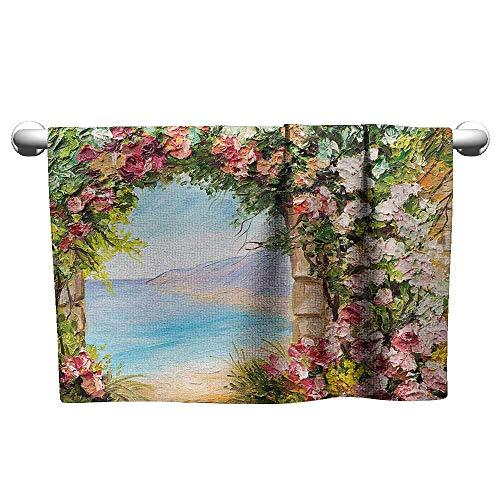 Bensonsve Premium Art,Old Antique Arch Covered by Rose Petals Branches Romantic Italian Panorama Sea Print,Multicolor,Hanging Towel Rack for Bathroom