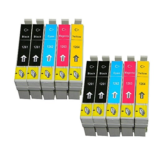 10 Packs Compatible Ink Cartridges for Epson T1261-t1264 Workforce 520 630 633 635