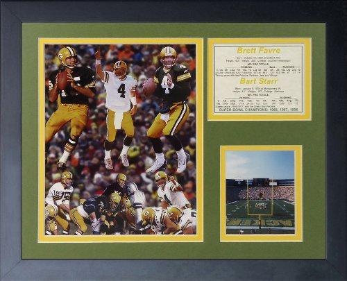 """Legenden Sterben Nie """"Brett Favre und Bart Starr"""" gerahmtes Foto Collage, 11 x 35,6 cm von Legends Never Die"""