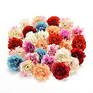 Flower heads in bulk wholesale for Crafts Silk Artificial Carnation Cherry Blossoms Flower Head Wedding Home Decoration DIY Corsage Wreath Fake Flowers Party Birthday Decor 30pcs 5cm 12