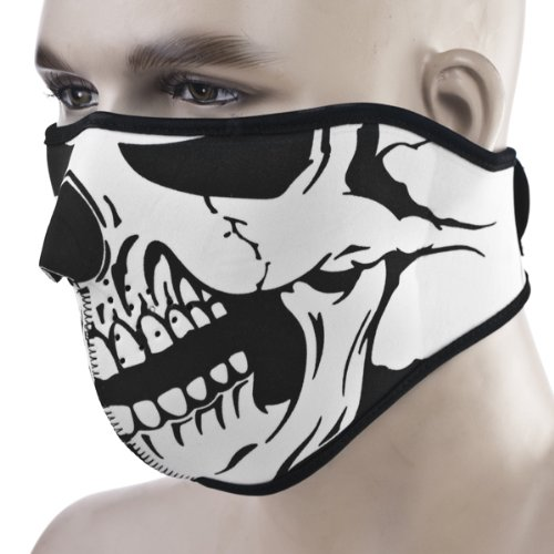 Astra Depot 2 In 1 Unique Reversible Windproof Black Tribal Classic Skull Soft Neoprene Half Face Mask Facemask Headwear Motorcycle ATV Biker Cycling