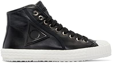 adc3406dbedc04 Image Unavailable. Image not available for. Colour  Jimmy Choo Black Naappa  (Italian Calf) Leather Logo Hi-Top Trainer ...