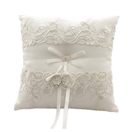 amajoy marfil boda anillo almohada cojín en forma de anillo con flores de encaje, 8,2 pulgadas (21cmx 21 cm) Anillo Portador para playa boda, ...