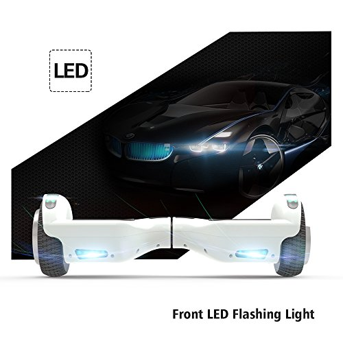"51l3fBVwT8L - Hoverboard 6.5"" UL 2272 Listed Two-Wheel Self Balancing Electric Scooter with Top LED Light And Bluetooth Speaker (Whte)"