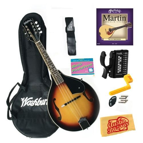 Washburn M1K A-Style Mandolin Pack Bundle with Tuner, Strings, String Winder, and Polishing Cloth - Tobacco Sunburst