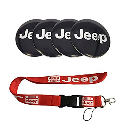 T'Nb New 1pcs Red Jeep Keychain Lanyard Badge Holder + 4pcs Set 56.5mm x 56.5mm Jeep Emblem Badge Sticker Wheel Hub Caps Centre Cover Fit for Jeep Cherokee Patriot Wrangler Compass: Automotive