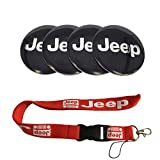 New 1pcs Red Jeep Keychain Lanyard Badge Holder + 4pcs set 56.5mm x 56.5mm Jeep Emblem Badge Sticker Wheel Hub Caps Centre Cover Fit For Jeep Cherokee Patriot Wrangler Compass