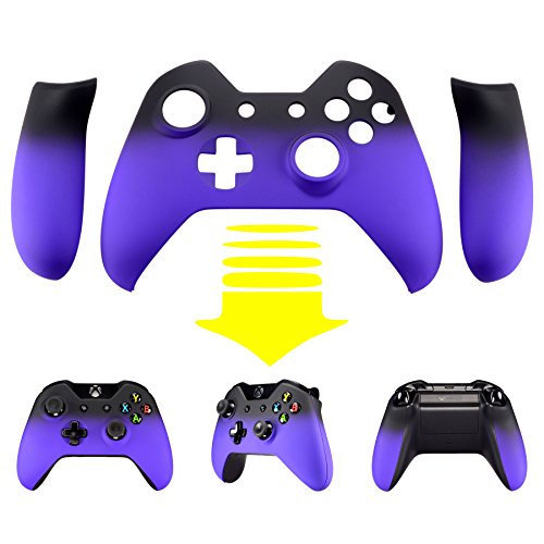 eXtremeRate Purple Shadow Soft Touch Top Shell Front Housing Faceplate Replacement Parts with Side Rails Panel for Xbox One Controller W/3.5 mm