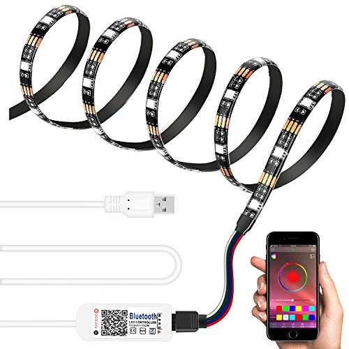USB Bluetooth Strip Light Kit Multicolor Waterproof Wireless Color Bias Backlight SMD5050 60LEDs 6.56ft DC5-24V via APP Android IOS - Stores Orange Park Mall