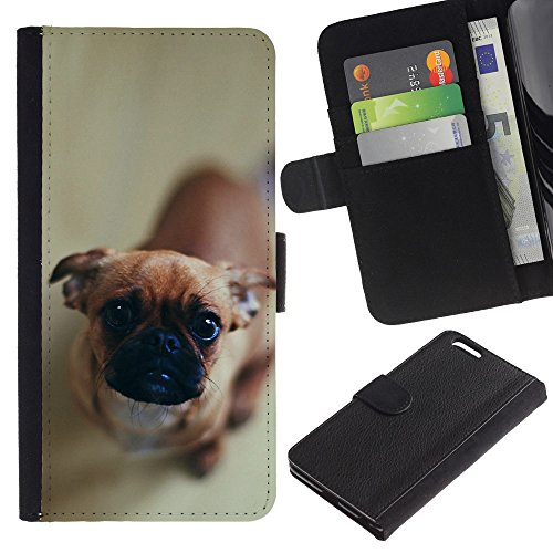EuroCase - Apple Iphone 6 PLUS 5.5 - Cute Curious Dog - Cuir PU Coverture Shell Armure Coque Coq Cas Etui Housse Case Cover