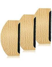 Guanici Trä fluff kam kashmir kammar tröja rakapparat ullkam anti-noppor kam manuell bärbar luddborttagare för att ta bort ludd damm i tröja vävd rock, stickad hatt, ullar halsdukar 3 st