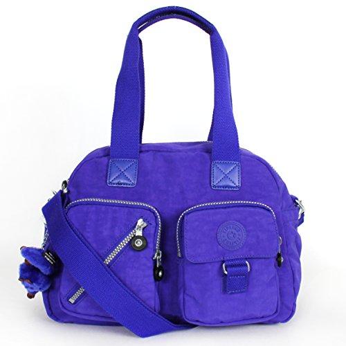Kipling Womens Defea Convertible Organizational Satchel Handbag Purple Medium