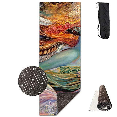 - LLuotryce Non Slip Exercise Fitness Mat, Lightweight Yoga Mat with Carrying Strap Fairy Art Deluxe Yoga Mat Aerobic Exercise Pilates